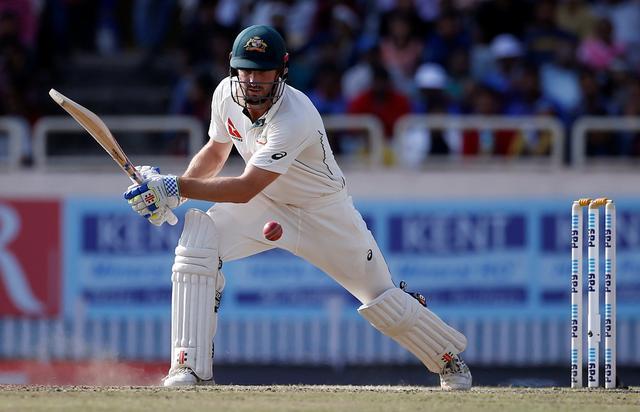India v Australia - Third Test cricket match - Jharkhand State Cricket Association Stadium, Ranchi, India - 20/03/17 - Australia's Shaun Marsh plays a shot. REUTERS/Adnan Abidi