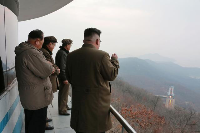 North Korean leader Kim Jong Un watched the ground jet test of a Korean-style high-thrust engine newly developed by the Academy of the National Defence Science. KCNA/via Reuters