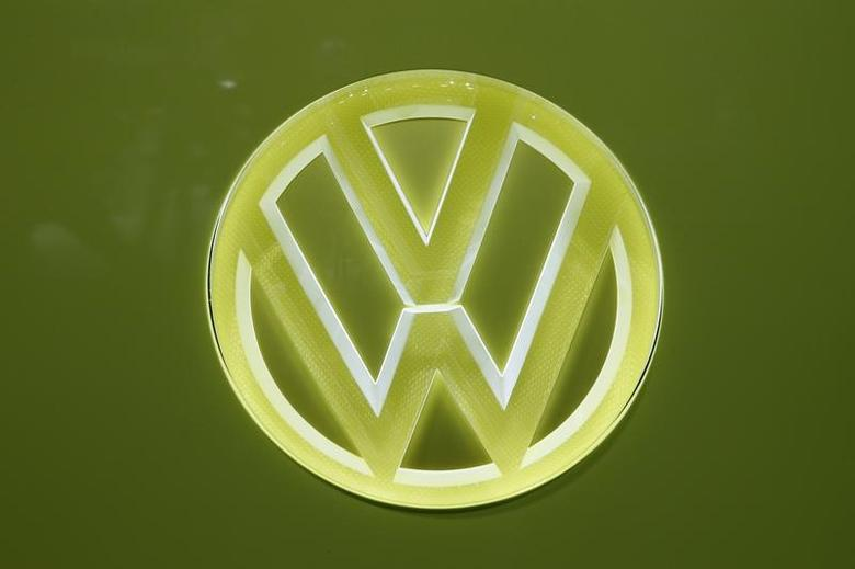 The Volkswagen logo is seen during the 87th International Motor Show at Palexpo in Geneva, Switzerland, March 7, 2017. REUTERS/Denis Balibouse