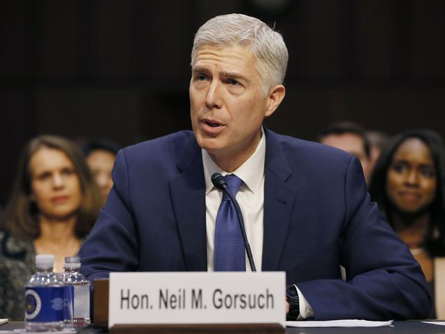 U.S. Supreme Court nominee judge Neil Gorsuch testifies at his Senate Judiciary Committee confirmation hearing on Capitol Hill in Washington, U.S., March 20, 2017. REUTERS/Jim Bourg