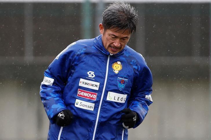 Yokohama FC's Japanese striker Kazuyoshi Miura, oldest footballer to score competitive goal, takes part in a training session in Yokohama, Japan, March 21, 2017.   REUTERS/Toru Hanai