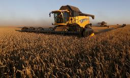 Combine harvesters work on a wheat field of the Solgonskoye farming company near the village of Talniki, southwest from Siberian city of Krasnoyarsk, Russia, August 27, 2015. Russia, one of the world's top wheat exporters, will harvest its third-largest grain crop in post-Soviet history this year, leading Russian consultancy SovEcon said on August 27 after upgrading its forecast. Picture taken August 27, 2015. REUTERS/Ilya Naymushin - RTX1Q1HS