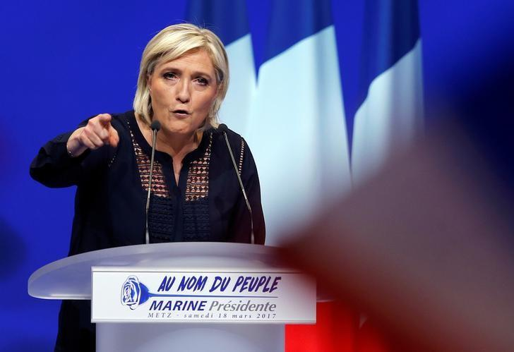Marine Le Pen, French National Front (FN) political party leader and candidate for French 2017 presidential election, addresses supporters during a political rally in Metz, France, March 18, 2017. REUTERS/Vincent Kessler/Files
