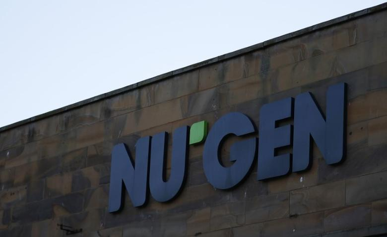 FILE PHOTO: A company logo is seen outside the office of NuGen in Whitehaven, Britain February 13, 2017.  REUTERS/Phil Noble