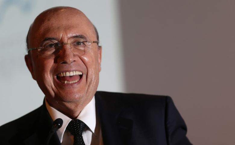 Brazil's Finance Minister Henrique Meirelles smiles at the Latin American Cities Conference in Brasilia, Brazil, March 21, 2017. REUTERS/Adriano Machado