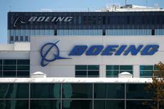 The logo of Dow Jones Industrial Average stock market index listed company Boeing (BA) is seen in Los Angeles, California, United States, April 22, 2016. REUTERS/Lucy Nicholson