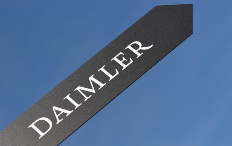 A sign showing the name of German truck maker Daimler is pictured at the IAA truck show in Hanover, September 22,  2016.  REUTERS/Fabian Bimmer