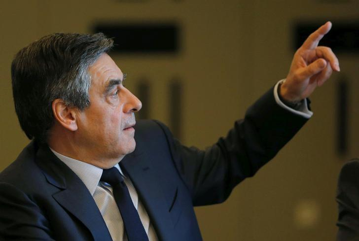 Francois Fillon, former French Prime Minister, member of the Republicans political party and 2017 presidential election candidate of the French centre-right reacts during a meeting with supporters few hours before a campaign rally in Biarritz, in Anglet, France, March 24, 2017. REUTERS/Regis Duvignau