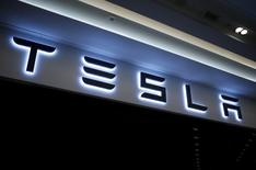 A Tesla logo is seen at its planned store in Hanam, South Korea, December 22, 2016. REUTERS/Kim Hong-Ji