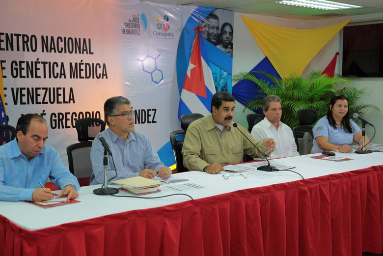 Venezuela's President Nicolas Maduro (C) speaks during a meeting with doctors and ministers in Caracas, Venezuela March 15, 2017. Miraflores Palace/Handout