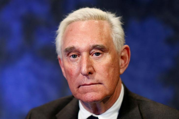 FILE PHOTO: Political advisor Roger Stone poses for a portrait following an interview in New York City, U.S., February 28, 2017. REUTERS/Brendan McDermid/File Photo