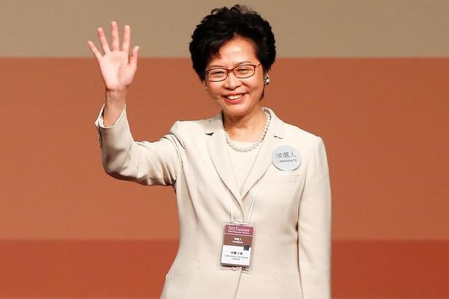 3月26日、香港で行政長官選挙が行われ、中国政府が支持する林鄭月娥(キャリー・ラム)前政務官(写真)が当選した。香港で初の女性行政長官となる(2017年 ロイター/Bobby Yip)