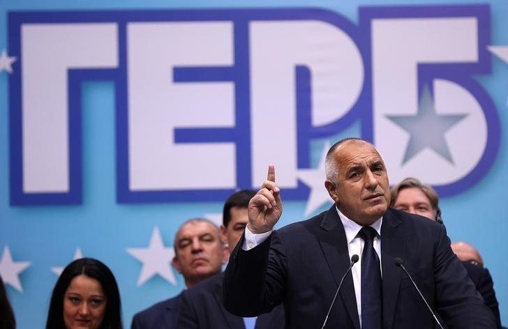 Former Bulgarian prime minister and leader of centre-right GERB party Boiko Borisov speaks during an election rally in Plovdiv, Bulgaria, March 24, 2017.  REUTERS/Stoyan Nenov/Files