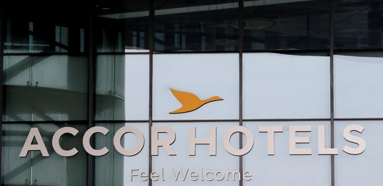 The logo of French hotel operator AccorHotels is seen on the facade of the company's headquarters in Issy-les-Moulineaux near Paris, France, April 22, 2016. REUTERS/Gonzalo Fuentes