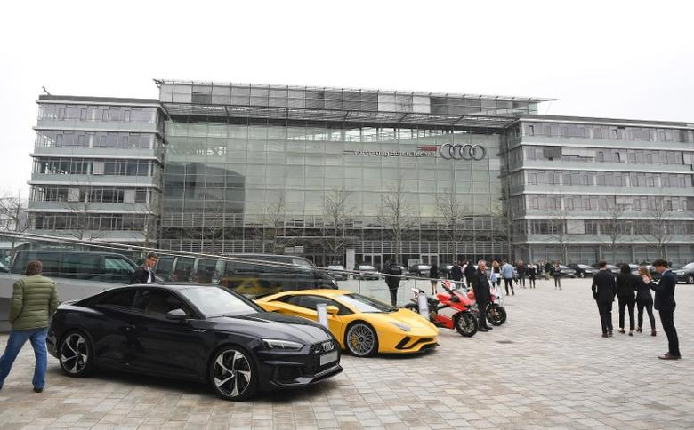 Audi cars are parked in front of the company's headquarters in Ingolstadt, Germany, March 15, 2017.     REUTERS/Lukas Barth
