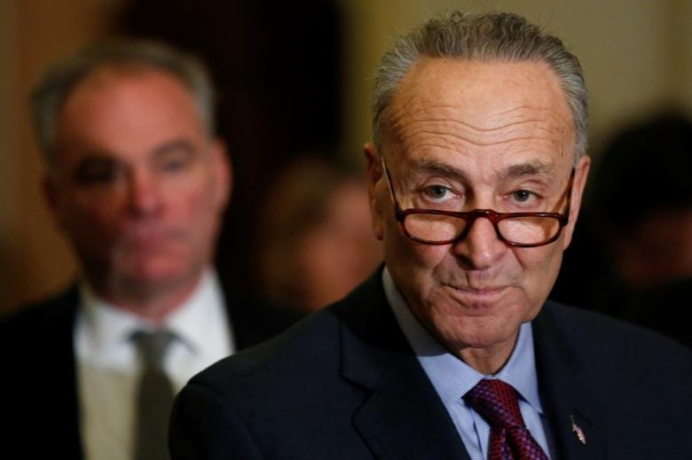 U.S. Senate Minority Leader Chuck Schumer (D-NY) speaks to reporters after the weekly Democratic caucus policy luncheon at the U.S. Capitol in Washington, U.S. March 21, 2017.  REUTERS/Jonathan Ernst