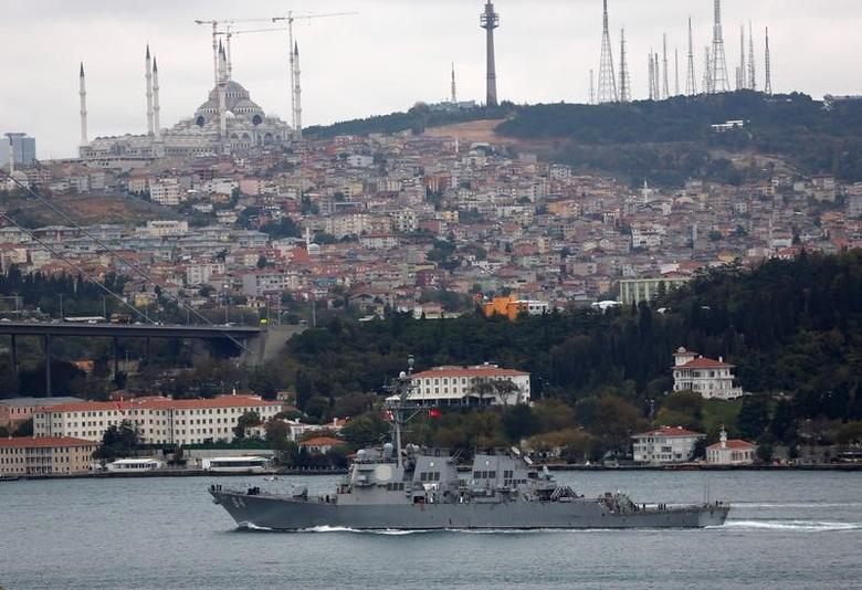 FILE PHOTO: The U.S. Navy destroyer USS Carney sets sail in the Bosphorus, on its way to the Black Sea, in Istanbul, Turkey, October 24, 2016. REUTERS/Murad Sezer