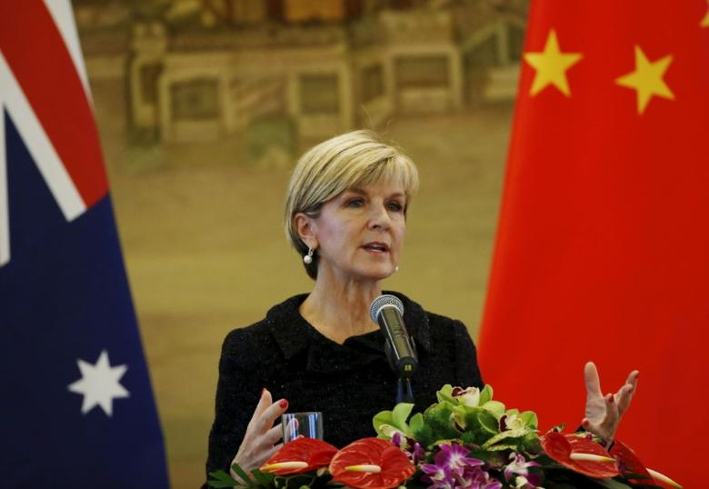 FILE PHOTO - Australian Foreign Minister Julie Bishop speaks at a joint news conference with Chinese Foreign Minister Wang Yi at the Ministry of Foreign Affairs in Beijing, China, February 17, 2016.   REUTERS/Kim Kyung-Hoon