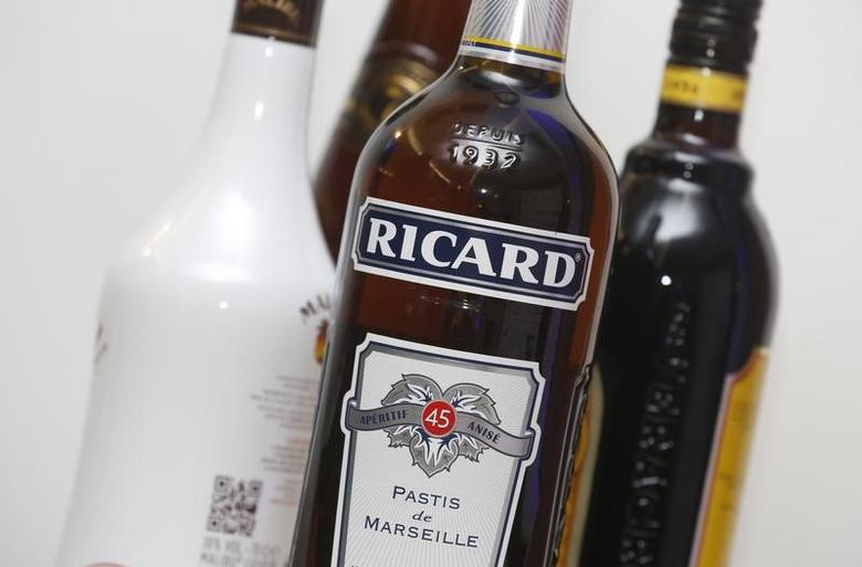 A bottle of Ricard, aniseed-flavoured beverage, is pictured during a news conference to present the company's 2015-2016 half-year results in Paris, France, February 11, 2016.  REUTERS/Jacky Naegelen