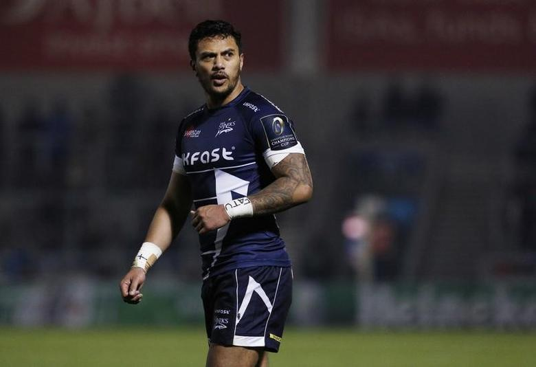 Britain Rugby Union - Sale Sharks v Saracens - European Rugby Champions Cup Pool Three - AJ Bell Stadium - 18/12/16 Sale Sharks' Denny Solomona Mandatory Credit: Action Images / Craig Brough
