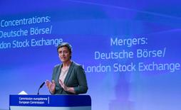 European Competition Commissioner Margrethe Vestager holds a news conference after EU antitrust regulators blocked the proposed merger of Deutsche Boerse and the London Stock Exchange on Wednesday as expected, saying that the deal would have harmed competition because of the companies' combined market power, in Brussels, Belgium March 29, 2017.  REUTERS/Yves Herman