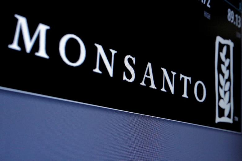 Monsanto logo is displayed on a screen where the stock is traded on the floor of the New York Stock Exchange (NYSE) in New York City, U.S. on May 9, 2016. REUTERS/Brendan McDermid/File Photo