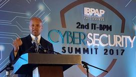 Lamont Siller, the legal attache at the U.S. embassy in the Philippines speaks during a cyber security forum in Manila, Philippines March 29, 2017. REUTERS/Karen Lema