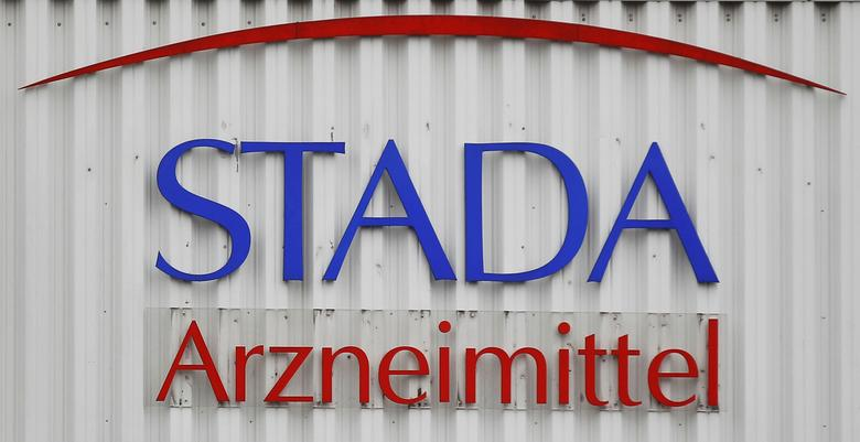 FILE PHOTO: The logo of the pharmaceutical company Stada Arzneimittel AG is pictured at its headquarters in Bad Vilbel near Frankfurt, Germany March 14, 2012. REUTERS/Alex Domanski
