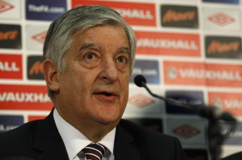 FILE PHOTO - FA Chairman David Bernstein attends a news conference at Wembley Stadium in London February 9, 2012.   REUTERS/Suzanne Plunkett