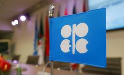A flag with the Organization of the Petroleum Exporting Countries (OPEC) logo is seen before a news conference at OPEC's headquarters in Vienna, Austria December 10, 2016. REUTERS/Heinz-Peter Bader