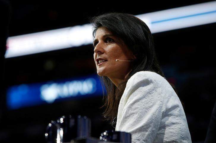 U.S. Ambassador to the United Nations NIkki Haley speaks to the American Israel Public Affairs Committee (AIPAC) policy conference in Washington, U.S., March 27, 2017. REUTERS/Joshua Roberts