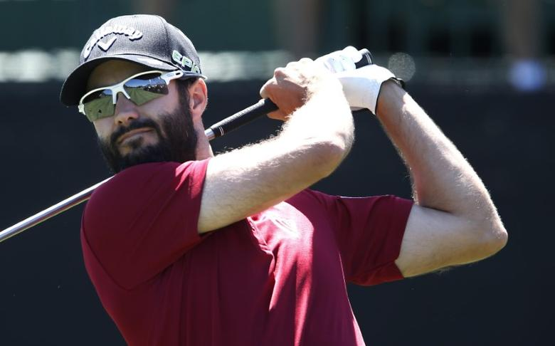 Mar 18, 2017; Orlando, FL, USA;  Adam Hadwin watches his drive on the first hole during the third round of the Arnold Palmer Invitational golf tournament at Bay Hill Club & Lodge . Reinhold Matay-USA TODAY Sports