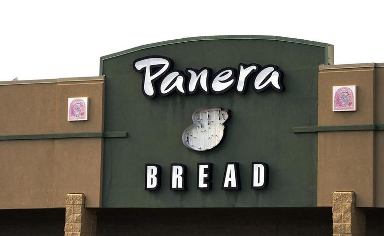 The sign on the hood of a delivery truck for Panera Bread Co. is seen in Westminster, Colorado February 11, 2015. Panera Bread Co was to issue its Q4 2014 Earnings Release on Wednesday.  REUTERS/Rick Wilking