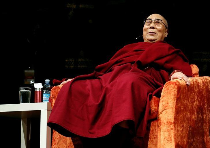 Tibet's exiled spiritual leader the Dalai Lama is seen at the Arcimboldi theater before receiving honorary citizenship of the city of Milan, in Milan, Italy October 20, 2016. REUTERS/Stefano Rellandini/File Photo