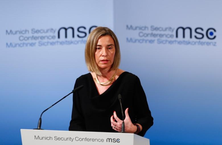 European Union High Representative for Foreign Affairs Federica Mogherini delivers her speech during the 53rd Munich Security Conference in Munich, Germany, February 18, 2017.    REUTERS/Michaela Rehle