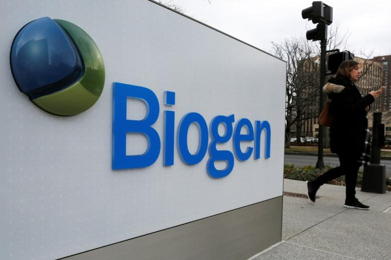 A sign marks a Biogen facility in Cambridge, Massachusetts, U.S. January 26, 2017.   REUTERS/Brian Snyder