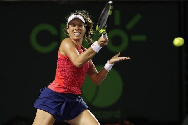 3月31日、テニスのマイアミ・オープンは30日に女子シングルス準決勝を行い、第10シードのジョアンナ・コンタ(写真)は第11シードのビーナス・ウィリアムズを6─4、7─5で下して決勝に進んだ(2017年 ロイター/Geoff Burke-USA TODAY Sports)