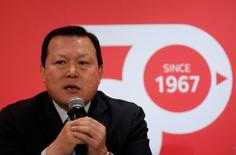 Hwang Kag-gyu, head of Lotte Corporate Innovation Office, speaks during a news conference in Seoul, South Korea, April 3, 2017.  REUTERS/Kim Hong-Ji
