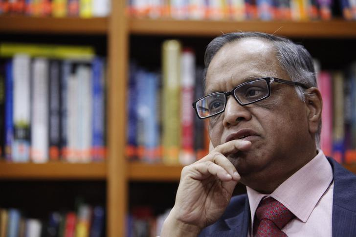 N. R. Narayana Murthy listens to a question during an interview with Reuters at the company's office in Bangalore February 28, 2012. REUTERS/Vivek Prakash/Files