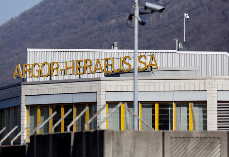 Outside view of the plant of gold refiner and bar manufacturer Argor-Heraeus SA in the southern Swiss town of Mendrisio,  March 1, 2012. REUTERS/Pascal Lauener