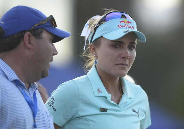 April 2, 2017; Rancho Mirage, CA, USA; Lexi Thompson reacts following her loss in playoff against So Yeon Ryu during the final round of the ANA Inspiration golf tournament  at Mission Hills CC - Dinah Shore Tournament Cou. Mandatory Credit: Gary A. Vasquez-USA TODAY Sports