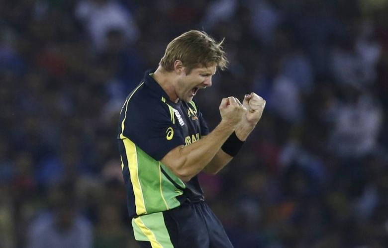 FILE PHOTO: Cricket - India v Australia - World Twenty20 cricket tournament - Mohali, India - 27/03/2016. Australia's Shane Watson celebrates taking the wicket of India's Suresh Raina. REUTERS/Adnan Abidi    Picture Supplied by Action Images