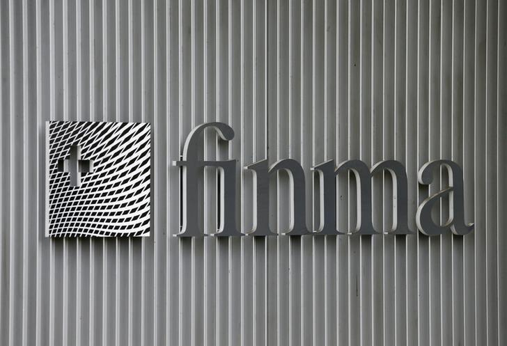 The logo of Swiss Financial Market Supervisory Authority FINMA is seen outside their headquarters in Bern, Switzerland April 5, 2016. REUTERS/Ruben Sprich/Files