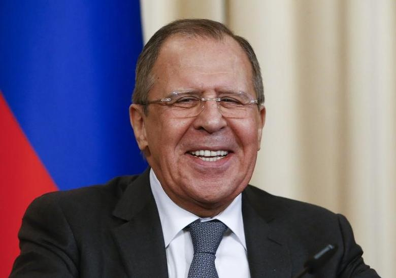 Russian Foreign Minister Sergei Lavrov reacts during a news conference after a meeting with his German counterpart Sigmar Gabriel in Moscow, Russia, March 9, 2017. REUTERS/Sergei Karpukhin/Files