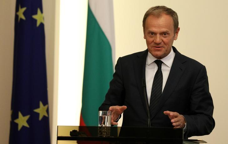 European Council President Donald Tusk speaks during a joint news conference with Bulgaria's President Rumen Radev in Sofia, Bulgaria April 4, 2017.    REUTERS/Stoyan Nenov