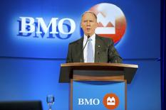 Bank of Montreal (BMO) Financial Group President and Chief Executive William Downe speaks at the bank's annual general meeting of shareholders in Saskatoon, Saskatchewan April 10, 2013.  REUTERS/Derek Mortensen