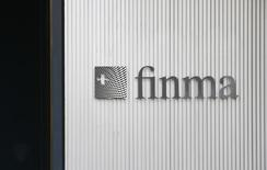 The logo of Swiss Financial Market Supervisory Authority FINMA is seen outside their headquarters in Bern, Switzerland April 5, 2016. REUTERS/Ruben Sprich