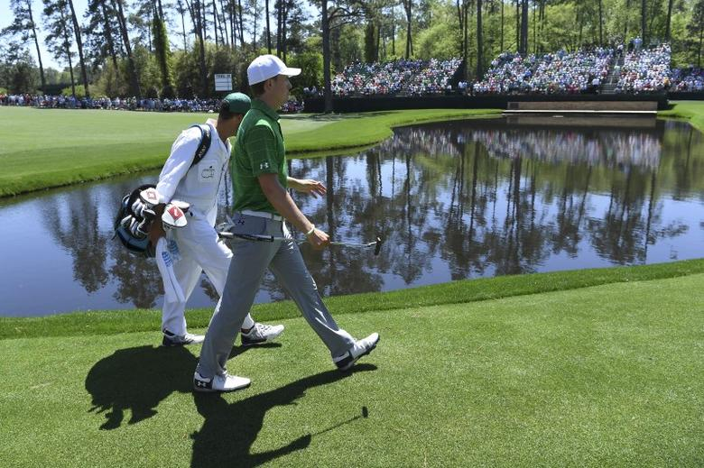 Apr 4, 2017; Augusta, GA, USA;Jordan Spieth walks to the 15th green during Tuesday practice rounds at at Augusta National GC. Mandatory Credit: Michael Madrid-USA TODAY Sports