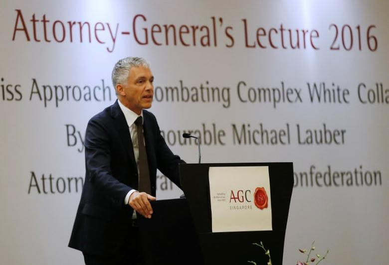 Swiss Attorney General Michael Lauber delivers a lecture on ''The Swiss Approach to Combatng White-Collar Crime'' in Singapore October 5, 2016. REUTERS/Edgar Su