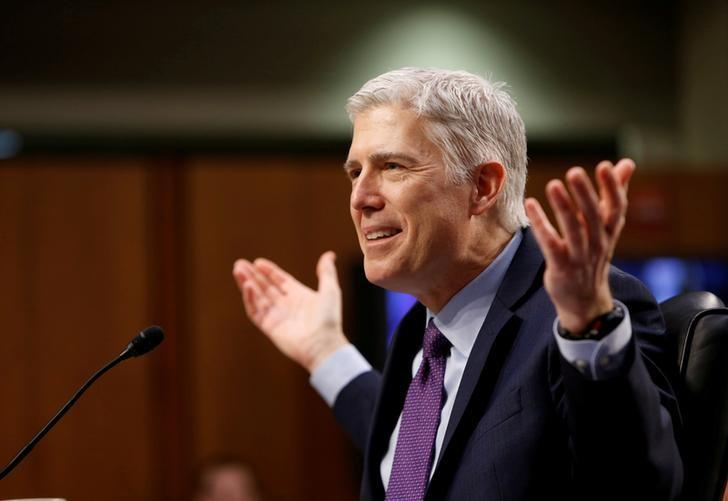 U.S. Supreme Court nominee judge Neil Gorsuch testifies during the second day of his Senate Judiciary Committee confirmation hearing on Capitol Hill in Washington, DC, U.S. on March 21, 2017. REUTERS/Joshua Roberts/Files